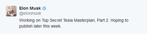 Elon Musk Tesla masterplan 2 tweet