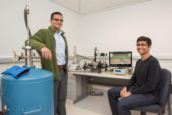 Berkeley Lab faculty scientist and UC Berkeley professor Ali Javey (left) and graduate student Sujay Desai  - photo credit: Marilyn Chung/Berkeley Lab)